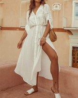 Ayualin branco sólido algodão rayon túnica vestido mulheres praia tampa para nadar verão camisa longa vestidos lado split vestidos boho robe1