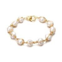 Оригинальный Handmade 14K Gold Baroque Natural Freshwater Pearl Женский браслет Продвижение Ювелирные Изделия для женщин Подарок на день рождения 200925