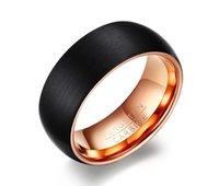 Black Gold Two Tone POYA de tungstène Bague pour homme mariage bande fini mat