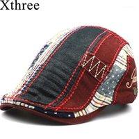 Visières XTHREE Mode Beret Hat Casquette Cap Coton Chapeaux pour hommes et femmes Sun Gorrras Planas Plat Caps1
