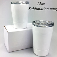 12oz Sublimation White Kid Mug with Lid Stainless Steel Doub...
