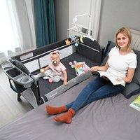 متعددة الوظائف طي سرير الربط كبير قابلة للإزالة الطفل مهد السرير مع طاولة حفاضات السرير والطردة الوقوف Q1109