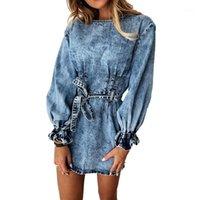 Günlük Elbiseler Boyun 2021 Yuvarlak Kadınlar Dantelli Kot Sonbahar Kış İnce Sashes Streetwear Katı Uzun Petal Kollu Denim Mini Dress1