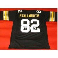121 Özel # 82 John Stallworth Black College Jersey Size S-4XL veya Özel Herhangi bir isim veya numara forma