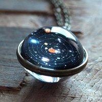 Donne da uomo Doppia collana a doppia collana di vetro dome sistema solare pianeta collane pendente regalo @ 881