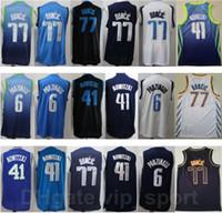 Männer Basketball Billig Luka Doncic Jersey 77 Kristaps Porzingis 6 Dirk Nowitzki 41 Edition verdiente Stadt Genäht Navy Blue Black White