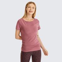 Gym Abbigliamento Syrokan Pima da donna Pima da donna in cotone manica corta camicia slim-fit yoga t-shirt con laterale shirring