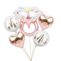 6шт свадьба любовь розовое золото алмазное кольцо mylar фольги воздушные шары невеста, чтобы быть украшениями партии комплект набор валентина дневной дневной игрушкой balon y0107