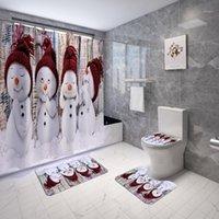 사랑스러운 작은 눈사람 욕실 커튼 메리 크리스마스 샤워 커튼 안티 스키드 목욕 러그 카펫 화장실 커버 휴일 장식 1