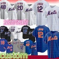 Nuevo Custom York 12 Francisco Lindor Jersey de béisbol 20 Pete Alonso 48 Jacob Grom 18 Darryl Strawberry 31 Mike Piazza 34 Noah Syndergaard
