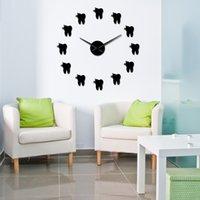 Зубы 3D Mirros наклейки Современный дизайн Зуб типа DIY Большой настенные часы Стоматологический кабинет Декор стены Бесшумный Non Ticking Big Clock