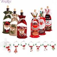Рождественские украшения Fengrise 2021 Декор для домашней бутылки Обложка Бокал Шарм Подарок Noel Год1
