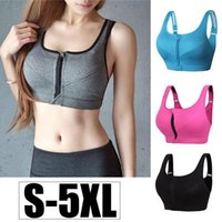 S- 5XL Front Zipper Sports Bra Solid Women Underwear Fitness ...