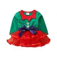 IN 2020 Weihnachtsbabyspielanzug Tutu Mädchen kleiden Spielanzug bowknot lange Neugeborene Strampelhöschen Baby One Piece Bekleidung Babykleidung Hülse