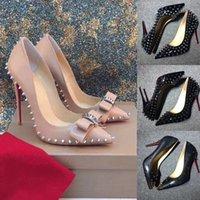 Avec boîte Chaussures Femme Chaussures High Talons Red Bottom Rivet Cuir Pattement Pointé Stiletto Heel Sleetto Mesdames Semelles de mariage sont rouges 8cm 10cm 12cm 35-44