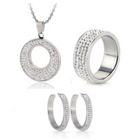 Hot Sale Stainless Steel CZ Crystal Enamel Earring Necklace Bridal Jewelry Set Choose Size of Ring 201222