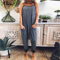 5XL Celmia Frauen-Tropfen-Schrittgurt Gestreifte Jumpsuits 2020 Sommer-Sleeveless Sexy Spaghetti-Bügel-Strampler beiläufige Harem Pants Playsuits