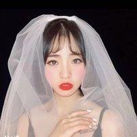 Echtes Bild Neue einfache Tüll Hochzeitsschleier Ehe Braut Hochzeitszubehör 2 Ebenen Kurze Brautschleier mit Kamm