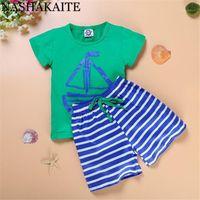Nashakaite Boy Ropa Set Anchor Print Tee and Drawstring Striped Shorts Toddler Baby Boy Outfits Ropa para niños1