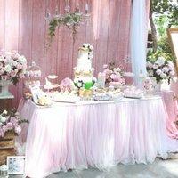 تول الجدول تنورة لحضور حفل زفاف الديكور عيد الطفل دش حزب ديكور الأبيض الوردي الأرجواني المائدة سماط المنسوجات المنزلية 201007