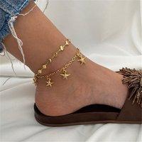Bohemian 불가사리 Anklet 체인 다층 골드 체인 발 팔찌 패션 쥬얼리 윌과 모래 선물