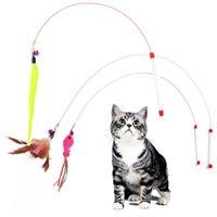 Pet Kedi Teaser Oyuncak Tel Dangler Değnek Tüy Peluş Balık Caterpillar İnteraktif Eğlenceli Egzersiz Oynarken Oyuncak JK2012PH
