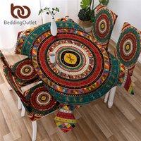 침대 아프리카 부엌 식탁보 아프리카 방수 테이블 천으로 민속 부족 서클 테이블 린넨 민족 다채로운 nappe t200707