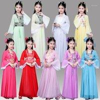Китайская традиционная Hanfu платье для детей одежда фольклорный танец девушки древние китайские оперы тан династия Han Ming костюм дети Kid1