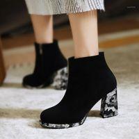 Kalite Süet Ayak Bileği Çizmeler Kadın Ayakkabı Yeni 2020 Bahar Moda Ayak Bileği Çizmeler Kadın Ayakkabı Siyah Kısa Bayanlar1