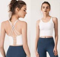 Color sólido Correa del hombro delgada cruzada hermosa espalda deportiva ropa interior de yoga traje femenino nuevo backless fitness sujetador pequeño sling