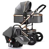 Cochecito de bebé 3 en 1, cochecitos cuatro ruedas bebé cochecito, carro de bebé, kinderwagen, buggy de lujo, shotchair recién nacido, alto paisaje1