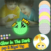 Hot Push Bubble Fidget Toy Glow In The Dark Squeeze Luminous Toys Anxiety Autism Special Needs Stress Reliever Table Game G10604