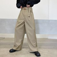 Pantaloni da uomo uomo in vita alta cintura casual larga gamba pantalone maschile vintage moda streetwear sciolto pantaloni lunghi1