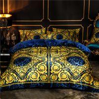 Weißgold Europäische Luxus Klassische Bettwäsche Set Winter Dicke Samt Flanell Fleece Bettbezug Bettwäsche Kissen Kissenbezüge C0317
