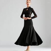 المرحلة ارتداء الرجعية الرقص الحديثة ممارسة اللباس المرأة قاعة أسود طويل الفالس الرقص 1
