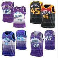 2021 New Utah.JazzDonovan 45 Mitchell Mike Rudy Conley John 12 Stockton Karl Gobert Malone Gonzaga Bulldogs College Trikots