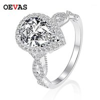 Oevas Luxo 100% 925 Sterling Silver 6 Ct Pêra Criado Moissanite Gemstone Casamento Noivado Anel de Jóias Fine Presente Atacado1