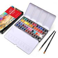Подарочные наборы DAINAYW Портативные 48 цветов Пигментные твердые акварельные краски набор олово коробка краска с половиной PAN 2 кисточка Pen Water Paper1