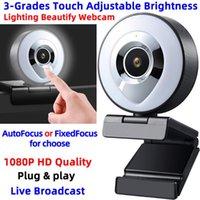 Fixe oder Auto Focus Beleuchtung Verschönern Sie die Webkamera HD 1080P Live-Sendung USB-Video-Webcam mit MIC-Berührung einstellbarer Helligkeit