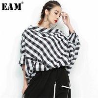 [EAM] Новая весна Летняя слешь шеи три четверти рукава плед сплит сустав свободный большой размер рубашка женщин Bouse мода LJ200812