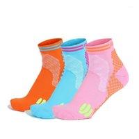 Sport calze 3 paiazzina blu arancione arancione colore rosa fitness correre ad alto calzino traspirante elastico all'ingrosso1