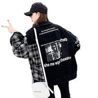 Otoño de la puntada suelta Denim Harajuku Bombardero Streetwear tela escocesa pantalones vaqueros negros Mujeres impresa letra de la chaqueta 201021