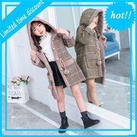 Мода девушки теплые куртки для зимнего пледа мыс Parka Детская одежда жир жир осадок Вес 4-14Y детей