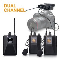 Freeshipping CardioID Audio UHF اللاسلكية Lavalier ميكروفون مع 30 قنوات يمكن اختيار 50M مجموعة لمقابلة DSLR كاميرا تسجيل حية