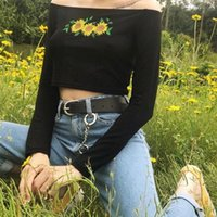 Izmestyeva slash pescoço casual flor de mangas compridas t-shirt feminino y200110