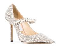 Элегантный дизайнер Baily Pumps High Stiletto каблук, жемчужный хрустальный ремешок Женщины сексуальные леди высокие каблуки для платья свадебные свадьбы лучший подарок для нее