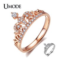 CZ Rose anillos de la corona del oro cristalinas de la manera para la joyería del anillo de compromiso de la boda mujeres del oro blanco Anillos Mujer Bague AUR0217