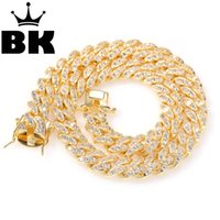 THE BLING KING 12mm encryption Micro Pave Iced CZ Cuban Link Necklaces Chains Gold Luxury Bling Bling Jewelry Fashion Hiphop LJ201007