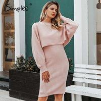 Simplee Elegant 2 шт. Женщины вязаное платье сплошное Bodycon свитер платье осень зима леди пуловер рабочая одежда свитер костюм 201029