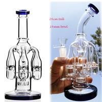 Große dicke Glasbongs 5 Kronleuchter Recycler Öl Rigs Becheröl-Righs Gläser Wasserleitungen Schüssel 14mm Gelenk 9,5 Zoll SY167